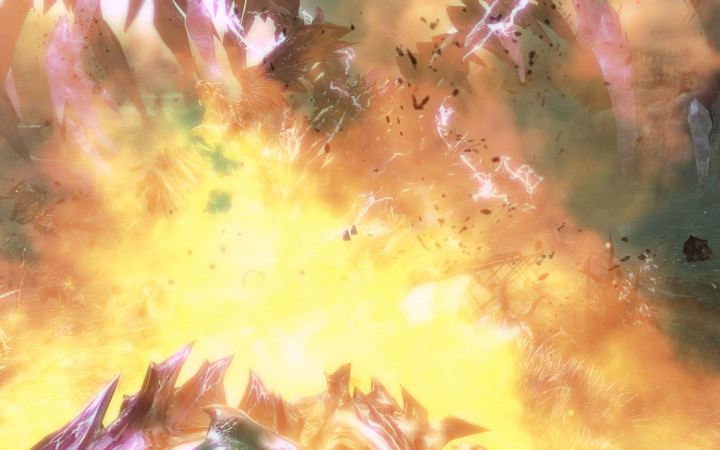 An explosion engulfs the Shatterer's branded minions.