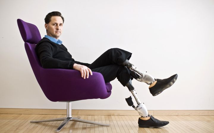 Professor Hugh Herr wearing his BiOMs