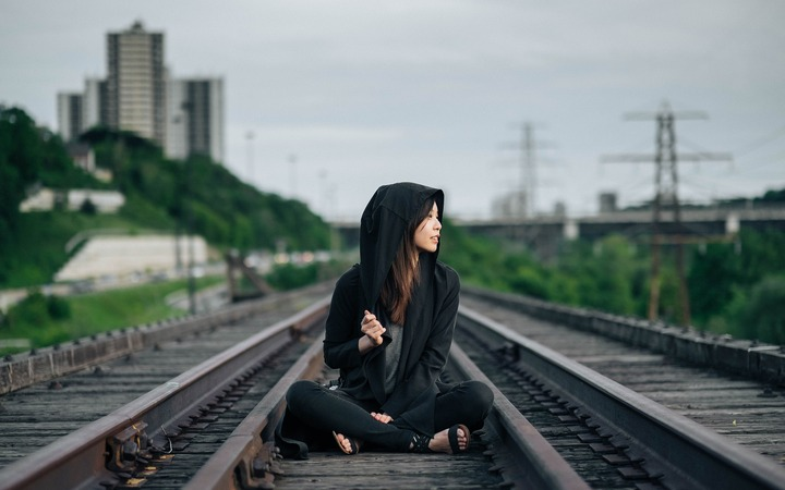 Chinese Brands - Chinese Girl on Railroad Tracks